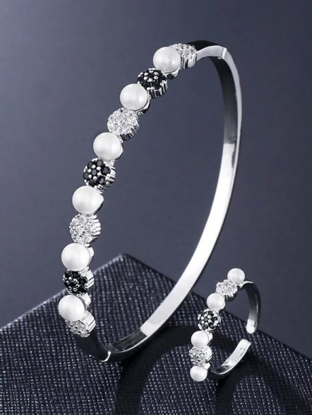 bracelets-floral-jewelled-pearl-bangle-and-open-ring-set-in-white-gold-black-1